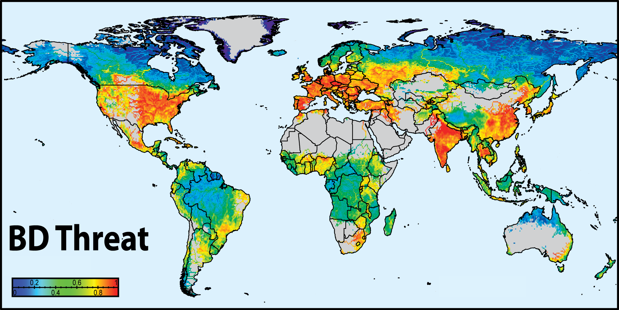 World Map Water.Global Threats To Human Water Security And River Biodiversity